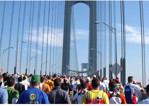 New York city Marathon - Sea of Humanity Crosses the Verrazano-Narrows Bridge