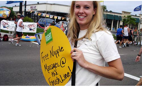 Free Nipple Massages at the finish line
